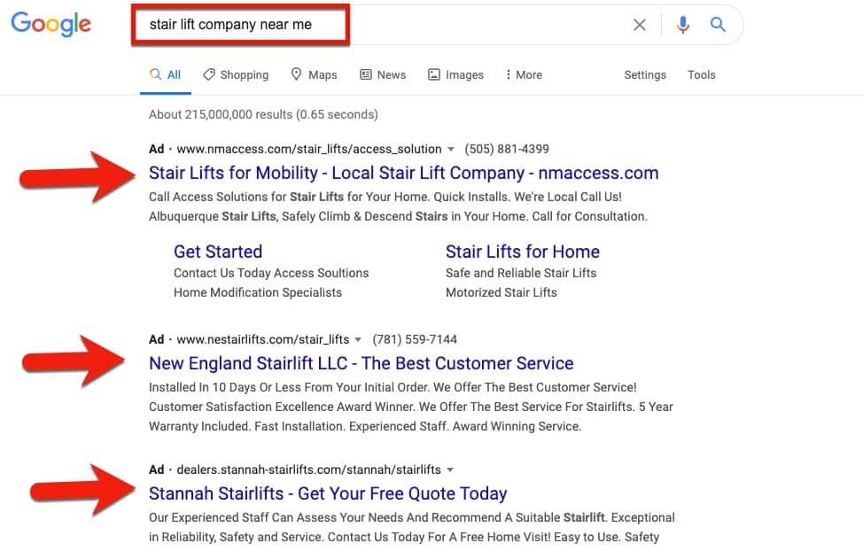 paid Google ads